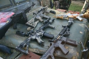 A selection of airsoft weapons
